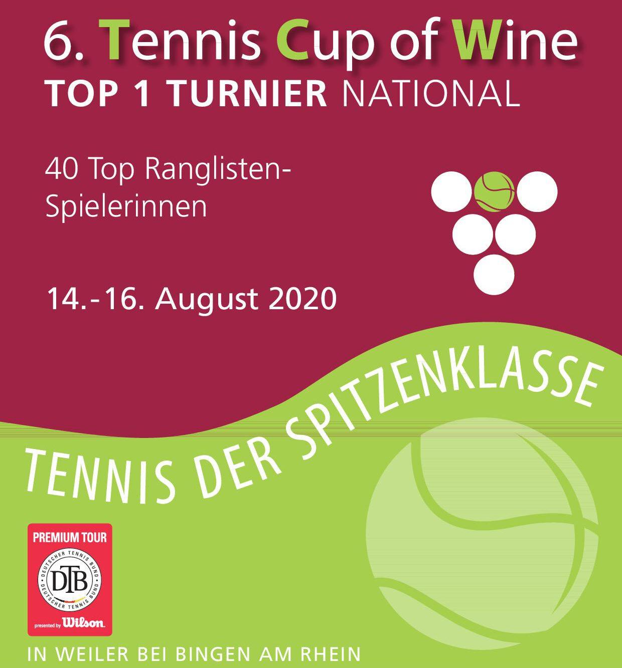 Tennis Cup of Wine startet am Freitag, 14.08.2020