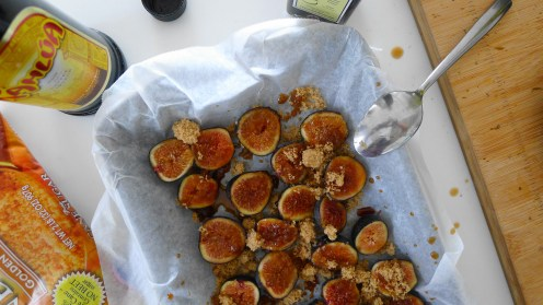Fig Prep with brown sugar, balsamic vinegar, and rum