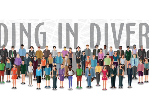 'Leading in Diversity' floating over large ground of graphic representations of people