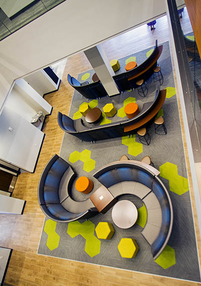 Urban Campus Lounge seating that forms SCC from above