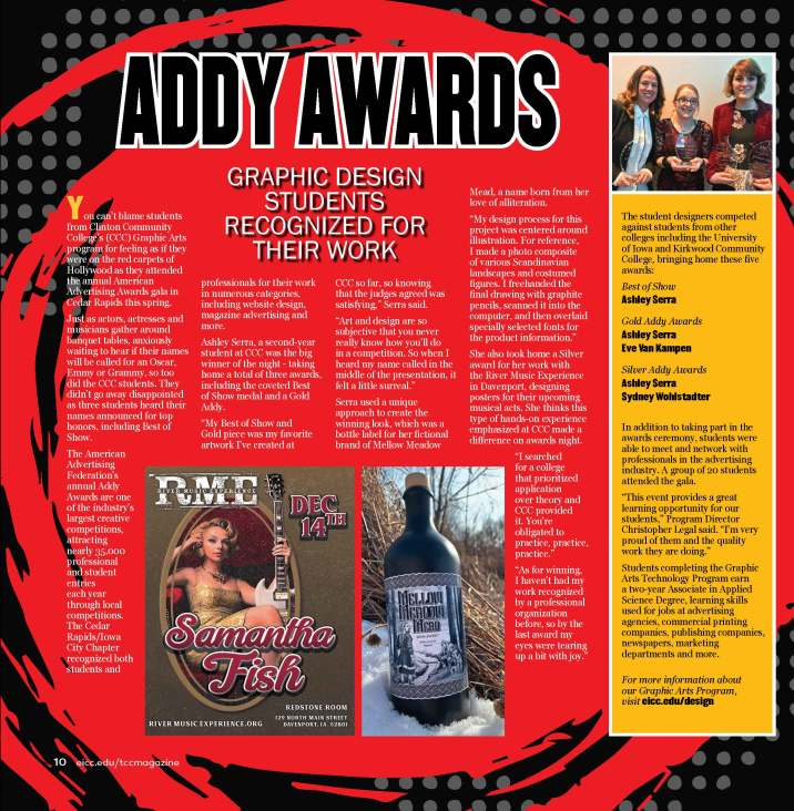 Addy Awards Magazine page