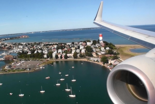 Plane Flying into Logan Airport