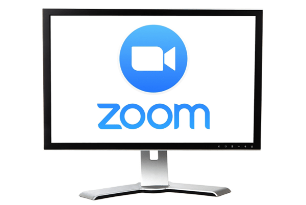 Zoom Video Conferencing on Computer Monitor