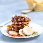 These caramelized banana waffles are a delight. The caramelized bananas are flambeed using dark Haitian a rum. | tchakayiti.com
