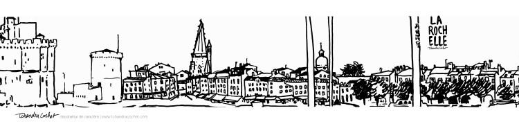 Carte postale panoramique La Rochelle, carte postale dessin La Rochelle