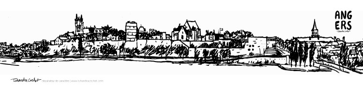Carte postale panoramique Angers, carte postale dessin Angers