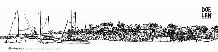 Carte postale panoramique Doelan, carte postale dessin Doelan