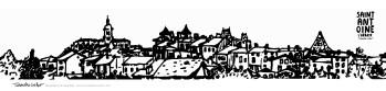 Carte postale panoramique Saint-Antoine l'Abbaye, carte postale dessin Saint-Antoine l'Abbaye