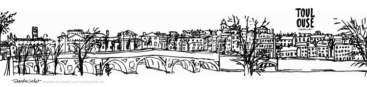 Carte postale panoramique Toulouse, carte postale dessin Toulouse