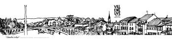 Carte postale panoramique Villeneuve-sur-Lot, carte postale dessin Villeneuve-sur-Lot