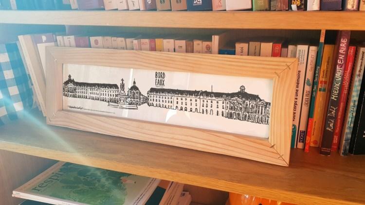 Dessin panoramique Bordeaux avec cadre