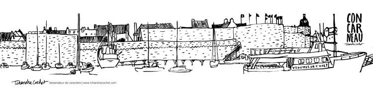 Concarneau, carte postale très panoramique