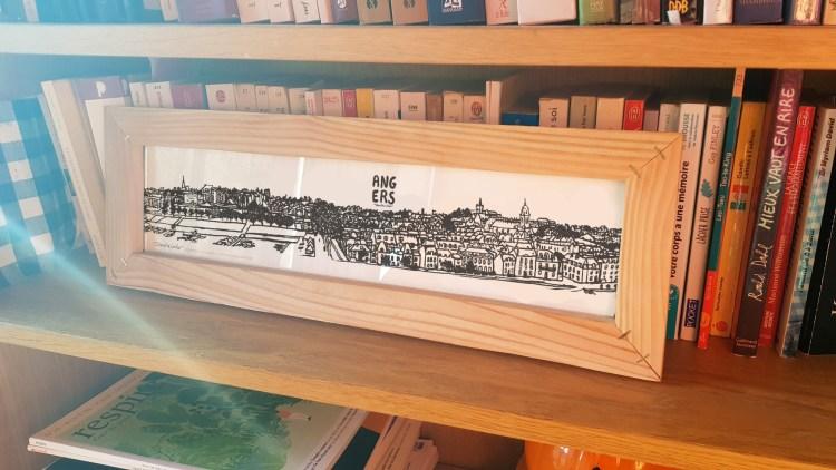 Dessin panoramique la Doutre Angers avec cadre