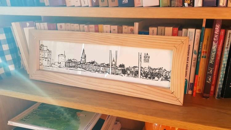 Dessin panoramique La Rochelle avec cadre