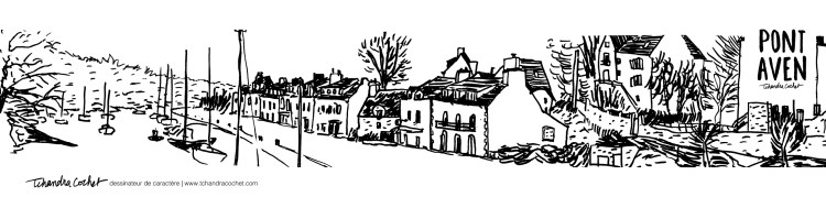Carte postale panoramique Pont-Aven, carte postale dessin Pont-Aven côté port