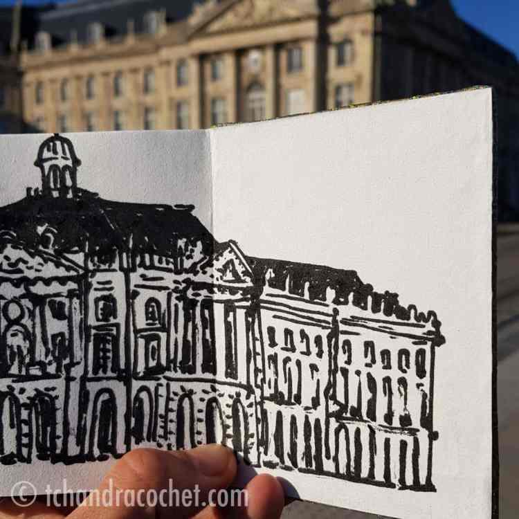 Dessin de la place de la Bourse à Bordeaux