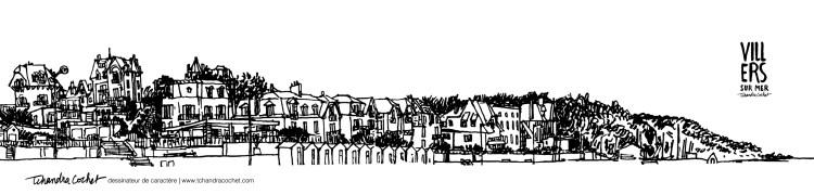 Dessin panoramique original Villers-sur-Mer
