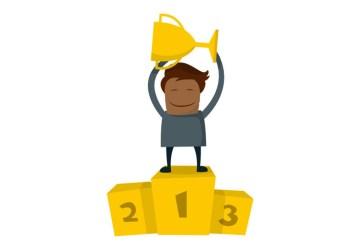 Champion sur le podium