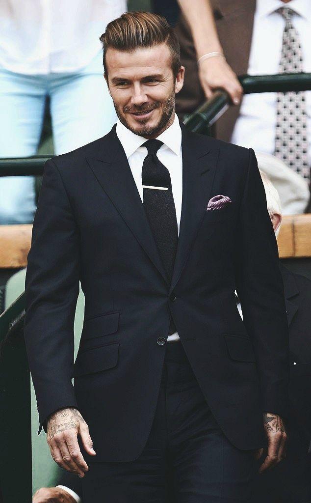 David Beckham en costume noir