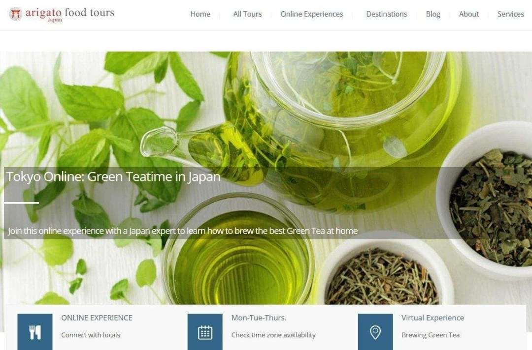 A screen capture of the Arigato Food Tours webpage featuring Japanese green tea