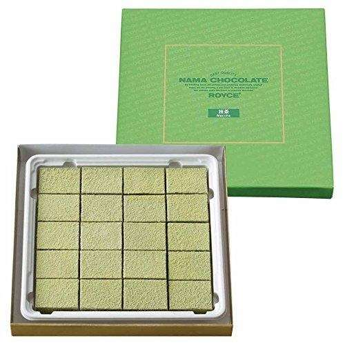 Photo of an open package of Royce' Nama Chocolate Maccha, in tidy rows with the lid behind.