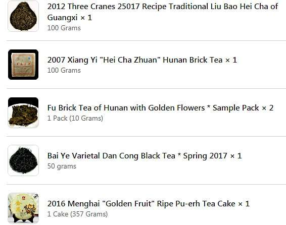 The Middle of the Tea Experience Curve - Part 1 - Screenshot of Yunnan sourcing purchase summary