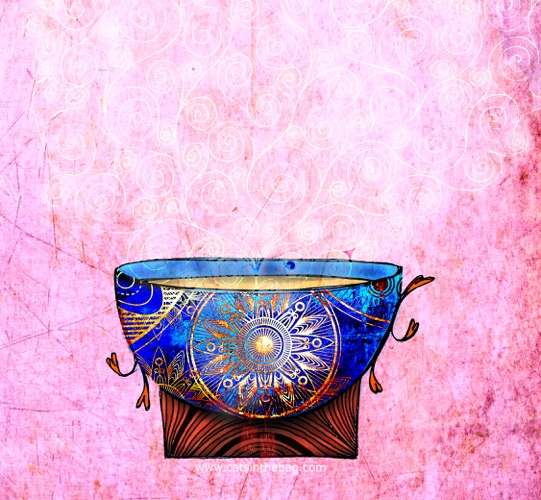 What My Tea Says To Me: Be - Colorful illustration of a steaming teacup