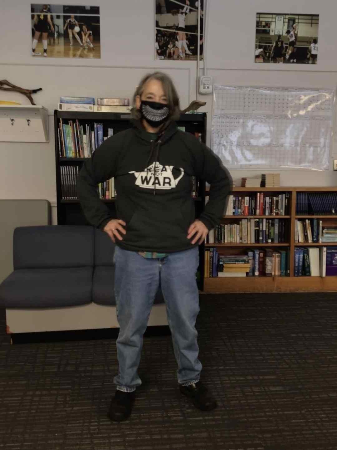 Make Tea Not War - Photo of author in her tea sweatshirt