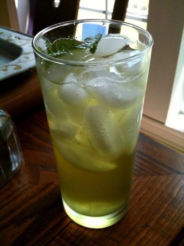 Tall glass of iced green tea