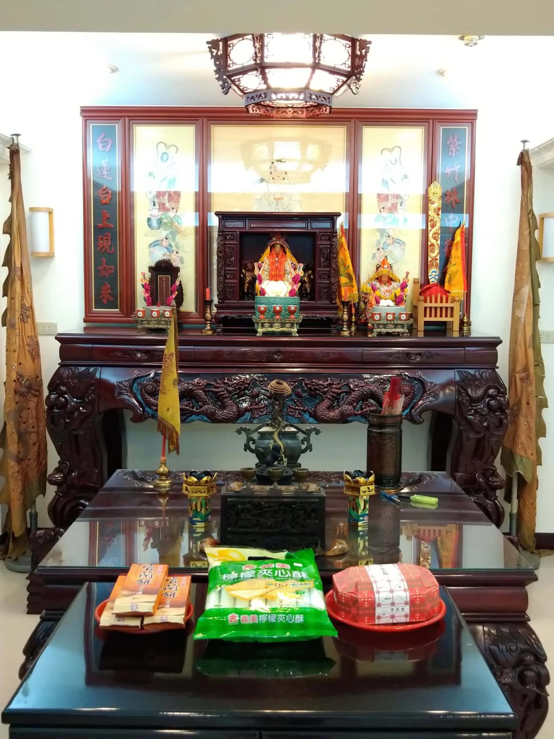 Tea Trade Mazu with food offerings