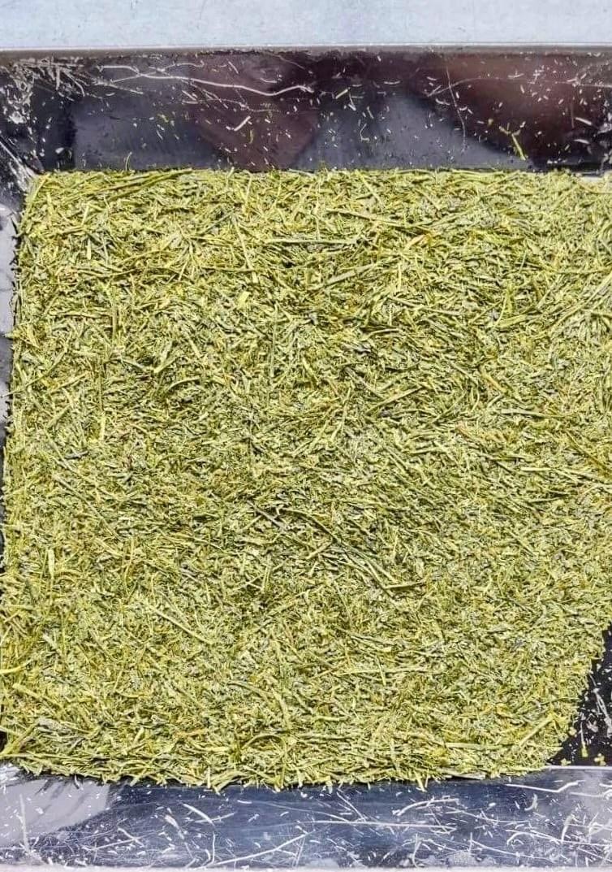 Dry hotaru shincha tea leaves