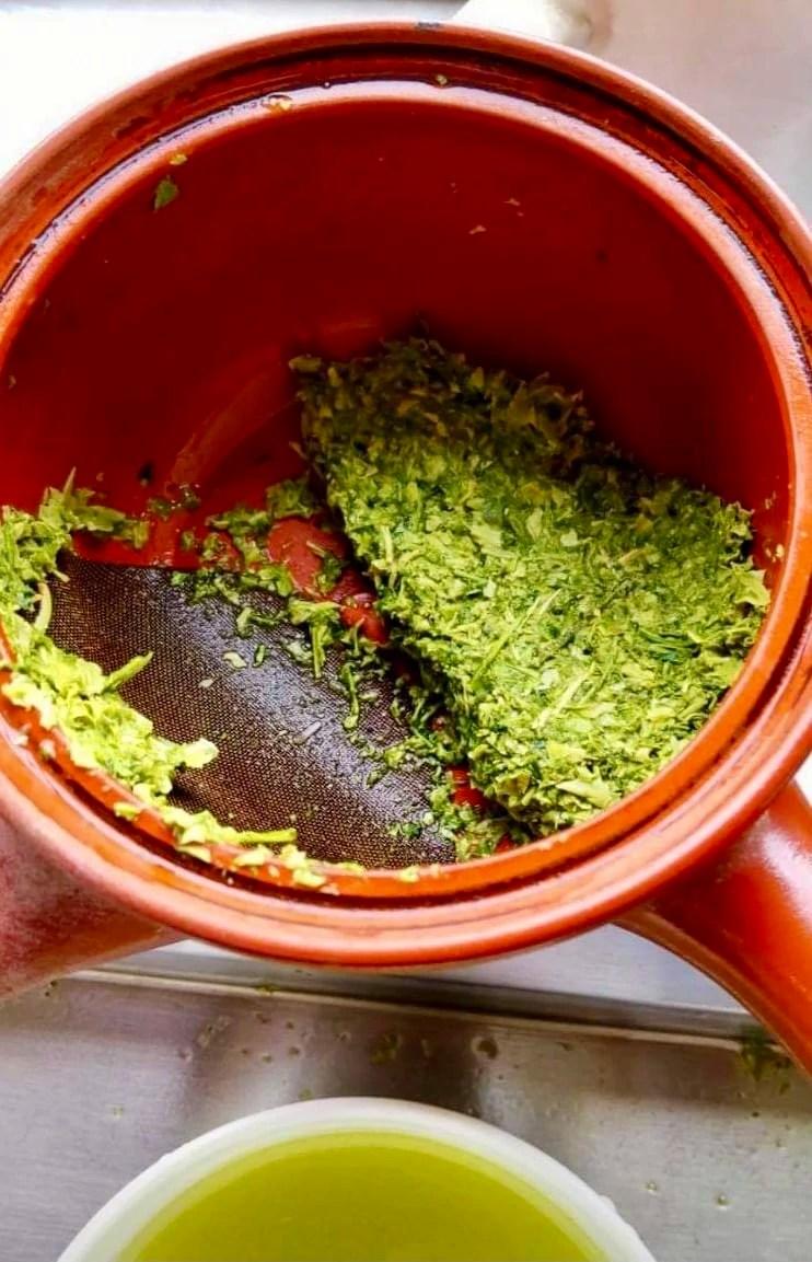 Steeped hotaru shincha tea leaves in a kyusu