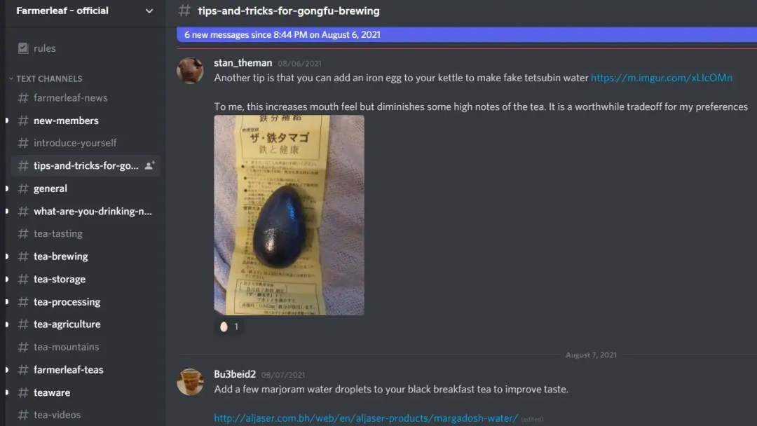 Screen Capture of Farmerleaf Discord forum, on the 'tips-and-tricks-for-gongfu' channel