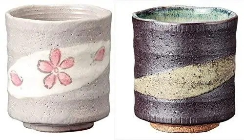 Sushi Yunomi Brown and Flower Motif - Yunomi pair, one brown the other with cherry blossom shape