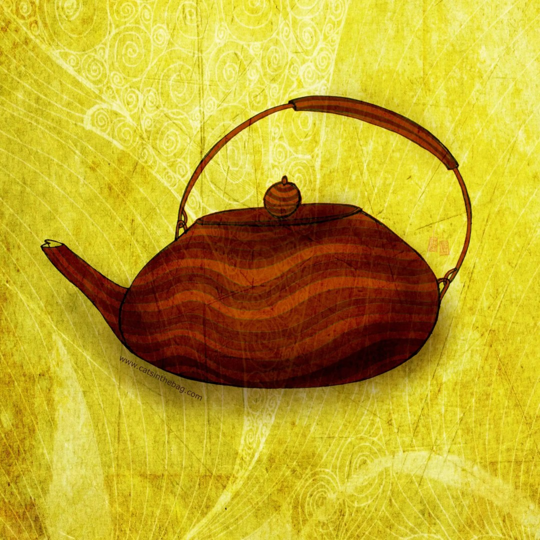 Illustration of teapot with wavy designs