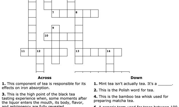 September Tea Crossword Puzzle