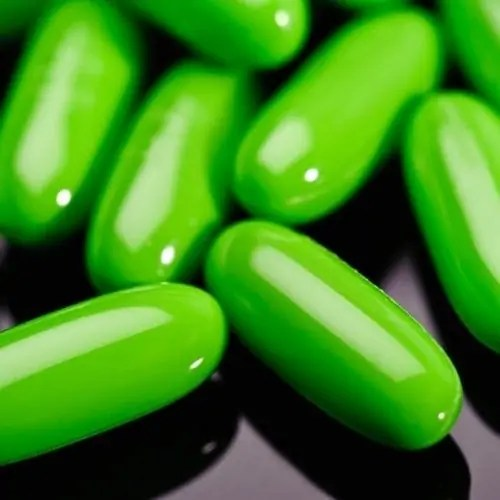 Green oval diet capsules