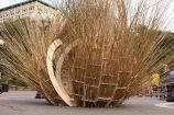 """Sukkah City entrant """"Fractured Bubble"""" by Henry Grosman and Babak Bryan"""