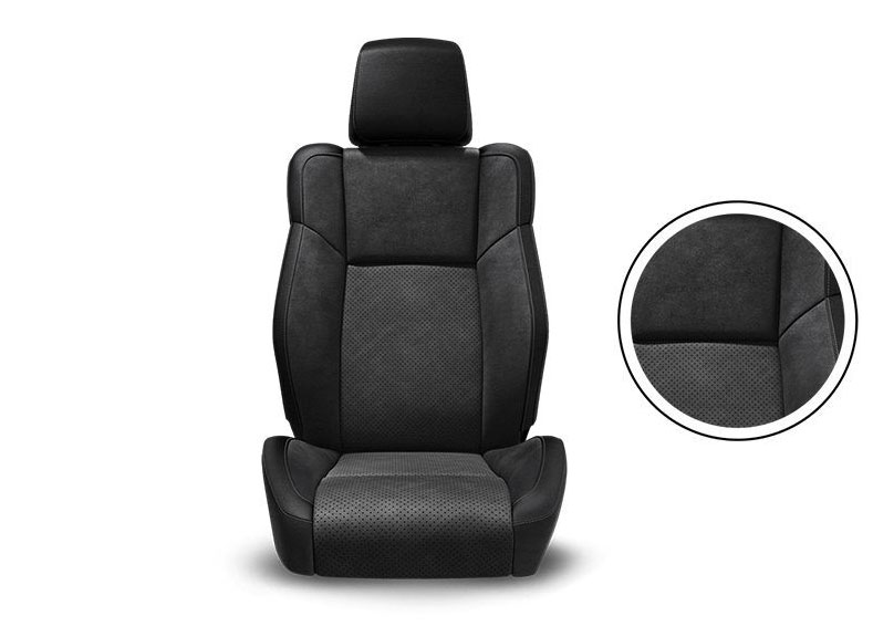 Black Nappa Leather Trim with Alcantara® Suede Bolsters, Alcantara Perforated Suede Inserts and Tungsten Accent Stitching Available on GT and R/T