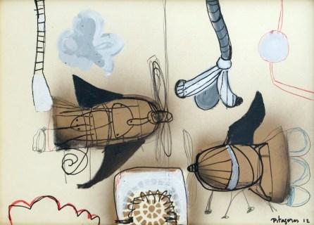 Pita´goras Lopes - Acri´lica e spray sobre papel - Ano 2012 - 50 x 72 cm, NF 125