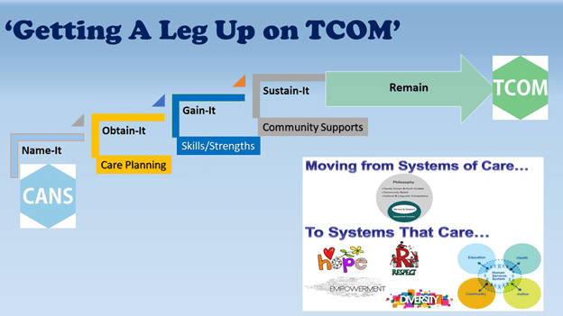 Getting A Leg Up On TCOM - Name-It, Obtain-It, Gain-It, Sustain-It are the steps, and if those steps remain, then we get TCOM. We are now moving from Systems of Care to Systems that Care.