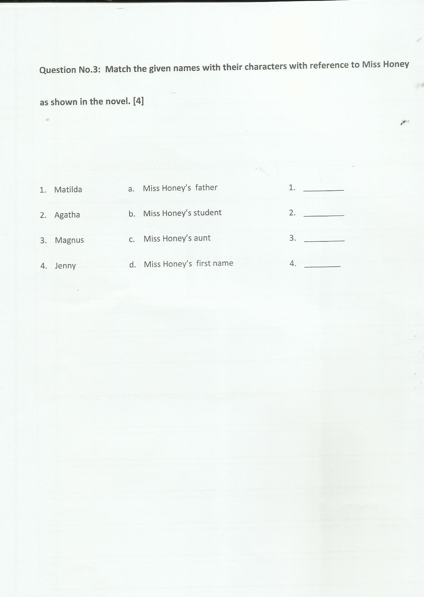 Past Paper English Class 6