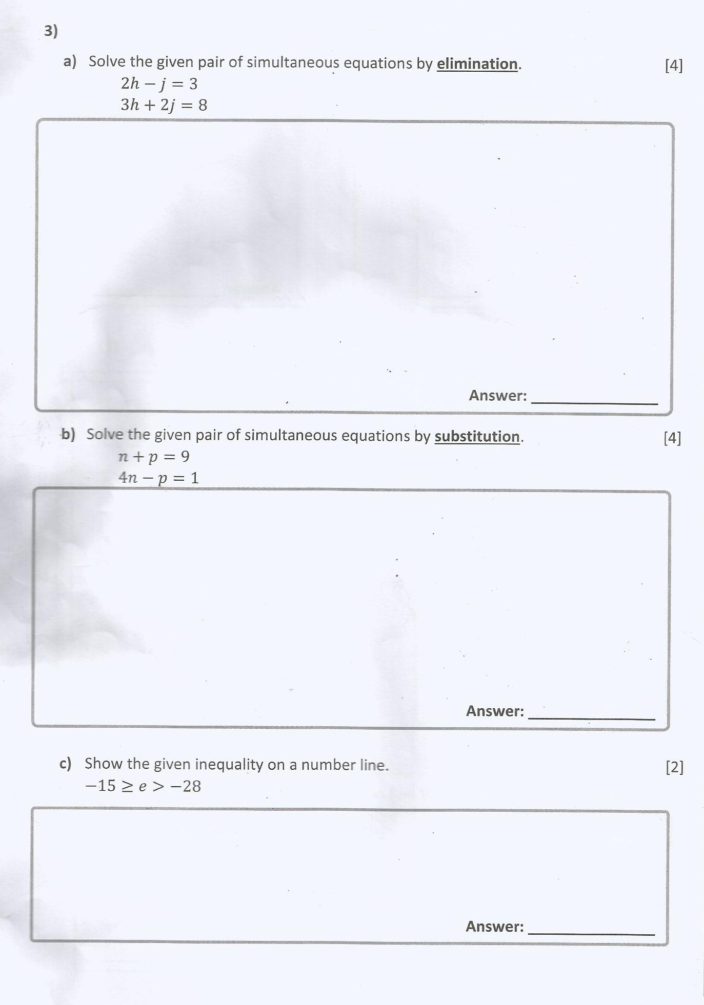 Mathematics Past Paper Grade 8