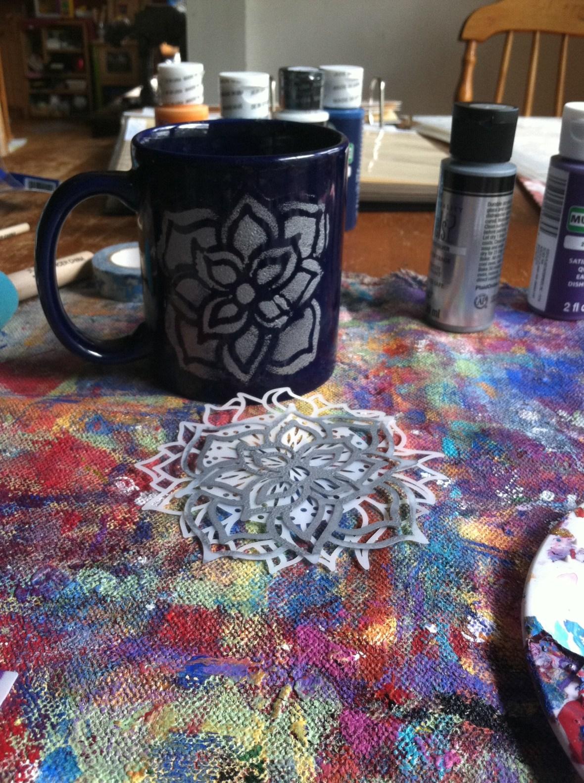 Removing stencil from mug