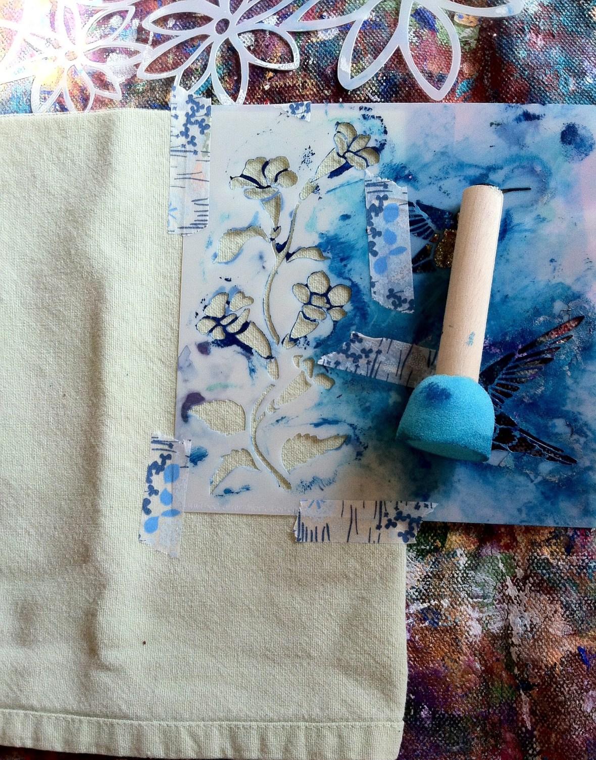 Step 1 securing stencil