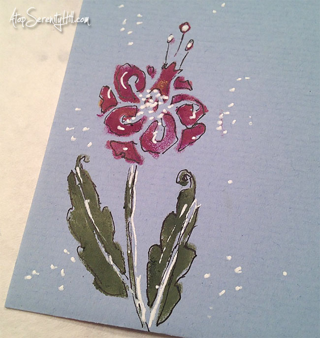 Stenciled sympathy greeting card using The Crafter's Workshop stencils • AtopSerenityHill.com #stencils #sympathycard #greetingcard