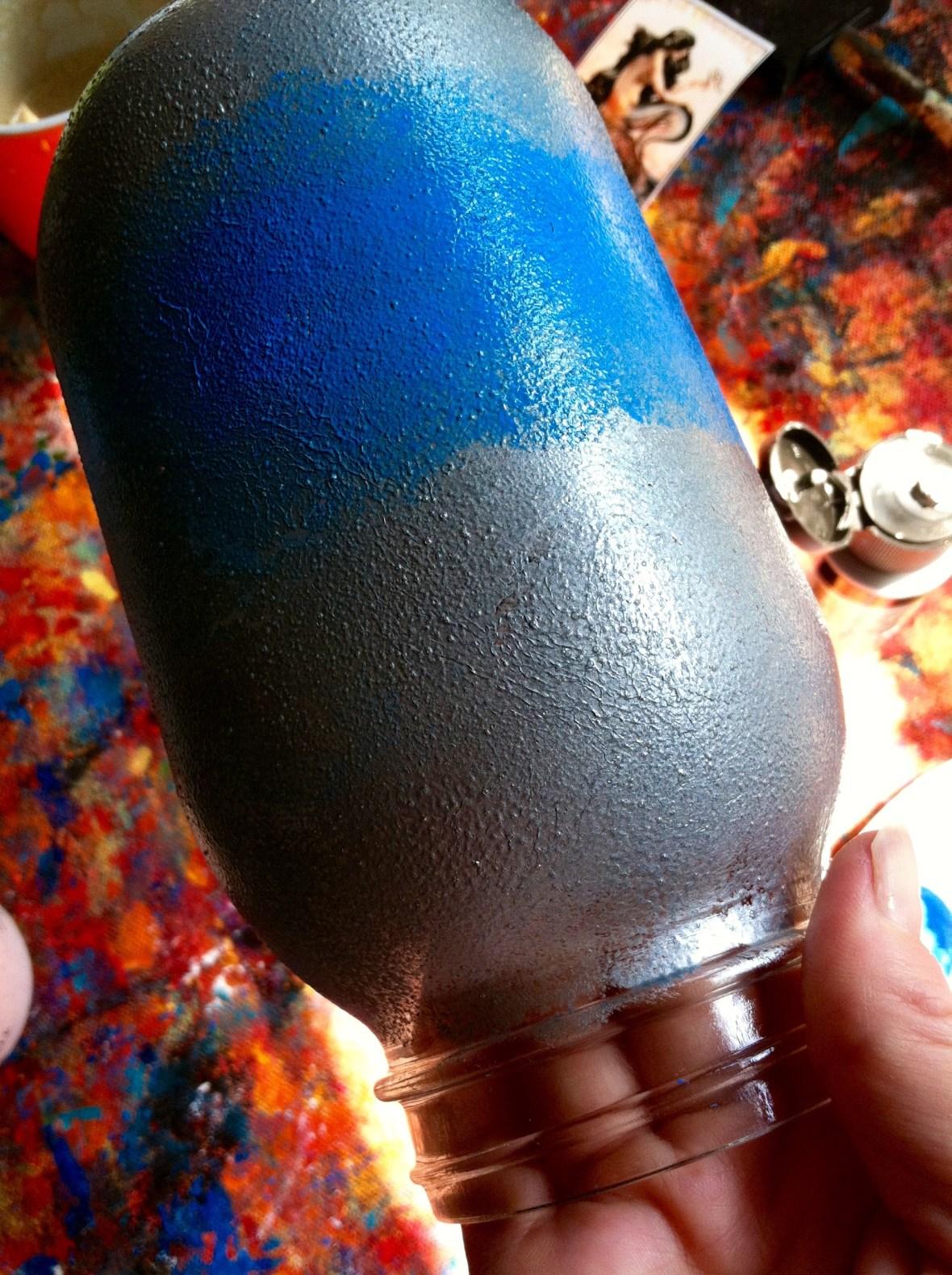 Painted jar upclose.