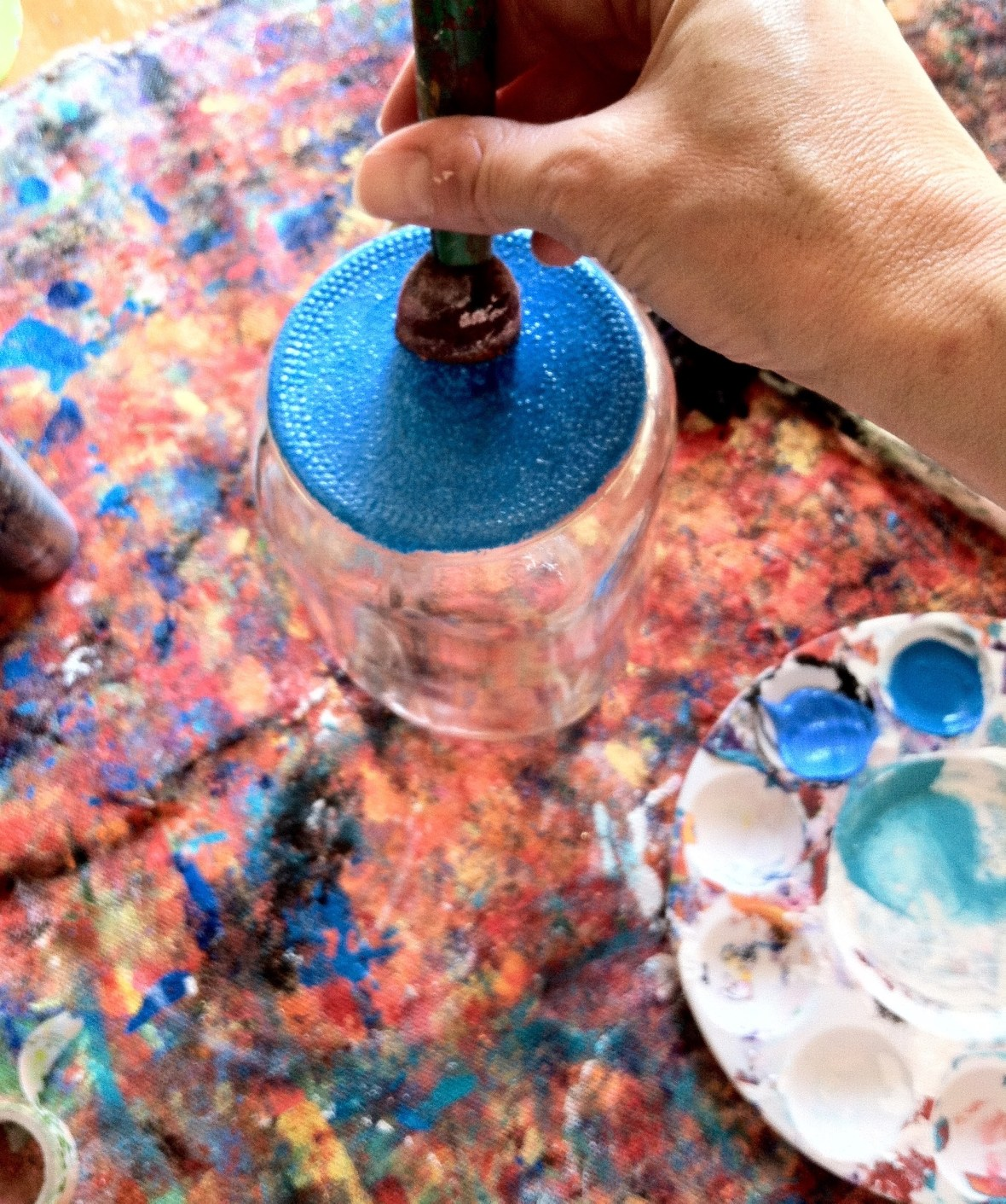 Painting bottom of jar