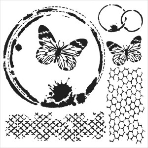 Butterfly Collage stencil