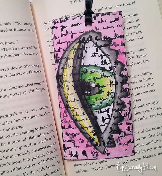 Quirky eye bookmarks using stencils from The Crafter's Workshop • AtopSerenityHill.com #stencils #bookmarks #watercolor